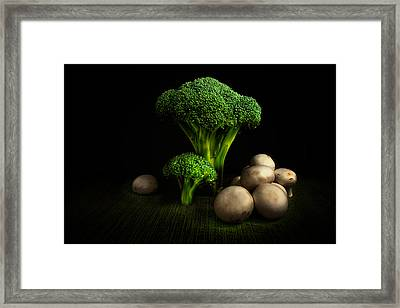 Broccoli Crowns And Mushrooms Framed Print