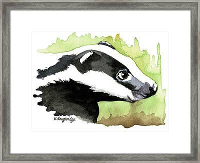 Brock Badger Framed Print by Karen  Loughridge KLArt