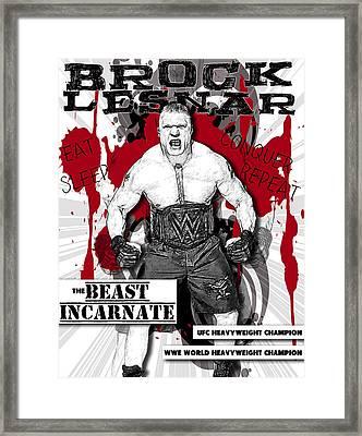 Brock Lesnar Framed Print by Anibal Diaz