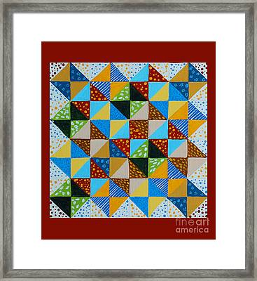 Broken Dishes - Quilt Pattern - Painting Framed Print by Barbara Griffin