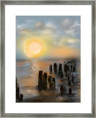 Framed Print featuring the digital art Broken Dock by Christine Fournier