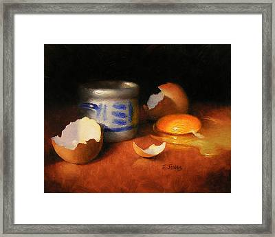 Broken Egg And Ceramic Framed Print by Timothy Jones