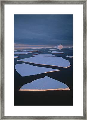 Broken Fast Ice Under Midnight Sun East Framed Print