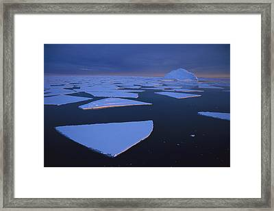 Broken Fast Ice Under Midnight Sun Framed Print by Tui De Roy