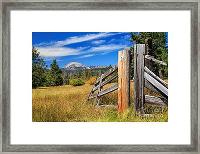 Broken Fence And Mount Lassen Framed Print by James Eddy