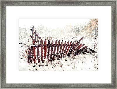 Broken Fence In Winter Framed Print by Jenny Rainbow