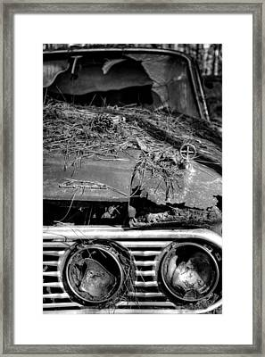 Broken Headlights Of A Comet In Black And White Framed Print by Greg Mimbs