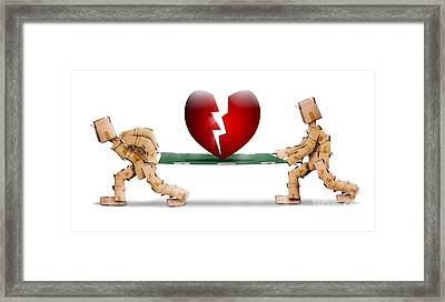 Broken Heart Carried On A Stretcher By Box Men Framed Print by Simon Bratt Photography LRPS