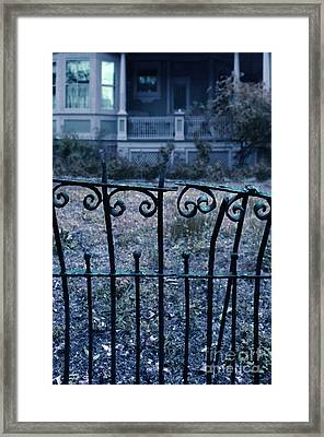 Broken Iron Fence By Old House Framed Print by Jill Battaglia