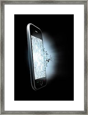 Broken Smartphone Screen Framed Print by Andrzej Wojcicki
