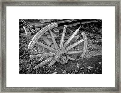 Broken Wagon Wheel In Black And White Framed Print