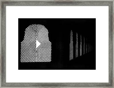Broken Window Grill Jali Framed Print by Jagdish Agarwal