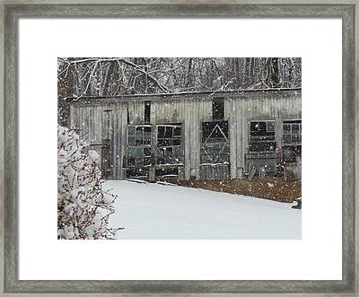Broken Windows In The Snow Framed Print by Sharon Costa