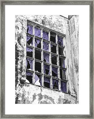 Broken Windows With Birds Framed Print
