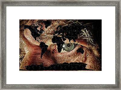 Broken World Puzzle Framed Print
