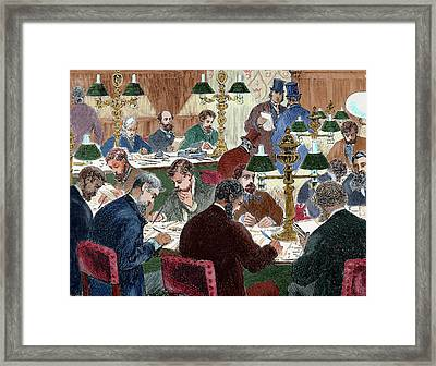 Brokers Working Nineteen-century Framed Print by Prisma Archivo