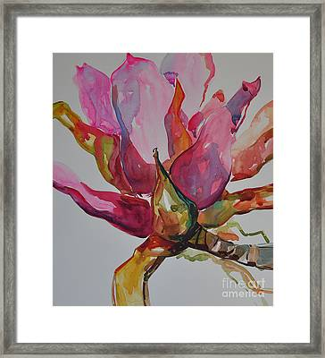 Framed Print featuring the painting Bromeliad #3 by Roger Parent