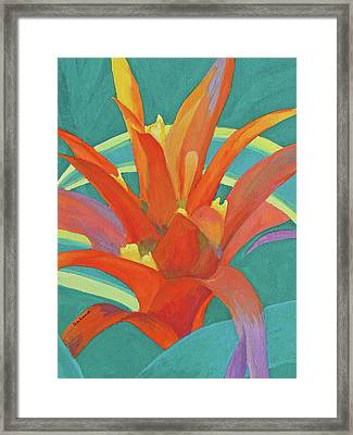 Framed Print featuring the painting Bromeliad Glow by Margaret Saheed
