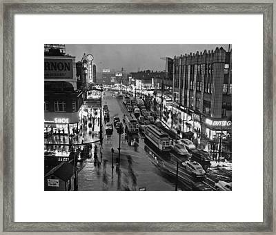 Bronx Fordham Road At Night Framed Print by Underwood Archives