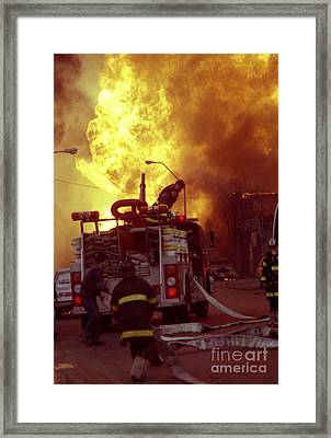 Framed Print featuring the photograph Bronx Gas Explosion-1 by Steven Spak