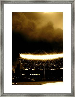 Bronx Storm Yankee Stadium  Framed Print by Iconic Images Art Gallery David Pucciarelli