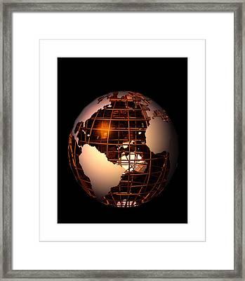 Framed Print featuring the digital art Bronze Globe... by Tim Fillingim