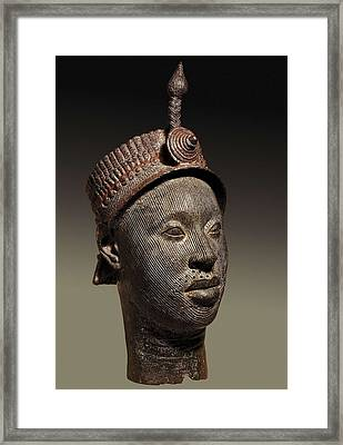 Bronze Head With Beaded Crown Framed Print