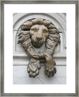 Framed Print featuring the photograph Bronze Lion by Pema Hou