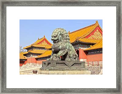 Bronze Lioness Forbidden City Beijing Framed Print by Colin and Linda McKie