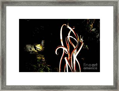 Bronze Reeds And Waterfall Framed Print by Edna Weber