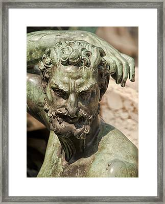 Bronze Satyr In The Fountain Of Neptune Of Florence Framed Print by Melany Sarafis