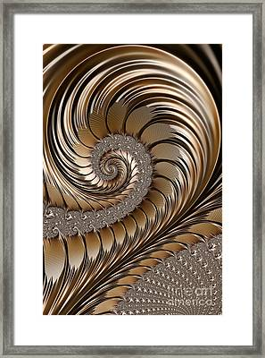 Bronze Scrolls Abstract Framed Print by John Edwards