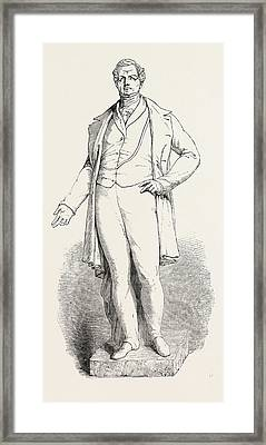 Bronze Statue Of The Late Sir R. Peel Framed Print by Baily, Edward Hodges Ra Frs (1788-1867), English