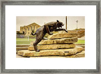 Kansas State Bronze Wildcat Framed Print