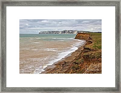 Brook Bay And Chalk Cliffs Framed Print