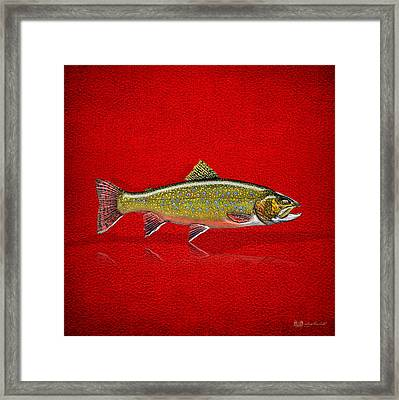 Brook Trout On Red Leather Framed Print by Serge Averbukh