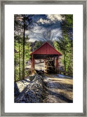 Sterling Covered Bridge - Stowe Vermont Framed Print by Joann Vitali
