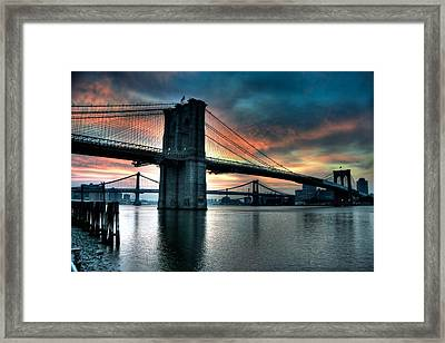 Brooklyn And Manhattan Bridges - Rosy Fingered Dawn Framed Print by Mark Garbowski