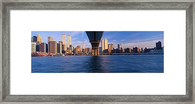 Brooklyn Bridge & Manhattan Skyline Framed Print by Panoramic Images
