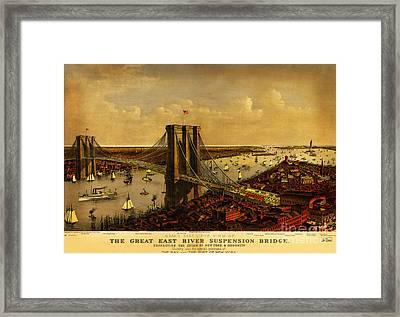 Brooklyn Bridge 1885 Framed Print by Celestial Images