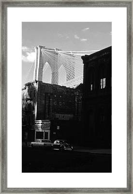 Framed Print featuring the photograph Brooklyn Bridge 1970 by John Schneider