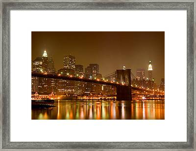 Brooklyn Bridge And Downtown Manhattan Framed Print by Val Black Russian Tourchin
