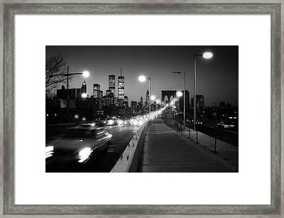 Brooklyn Bridge And Manhattan Skyline At Dusk 1980s Framed Print by Gary Eason