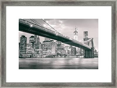 Brooklyn Bridge And New York City Skyline At Night Framed Print by Vivienne Gucwa