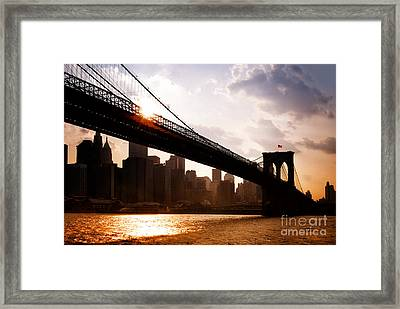 Brooklyn Bridge And Skyline Manhattan New York City Framed Print