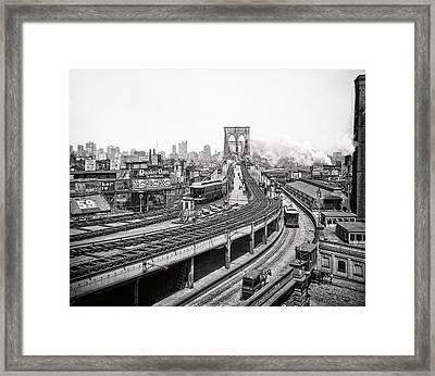 Brooklyn Bridge And Terminal - 1903 Framed Print by Daniel Hagerman