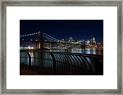 Brooklyn Bridge At Night Framed Print