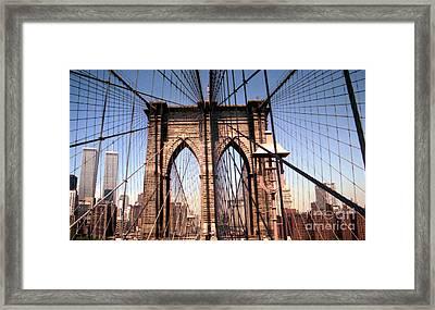 Brooklyn Bridge Before 9/11/01 Framed Print by Steven Spak