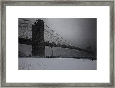 Brooklyn Bridge Blizzard Framed Print