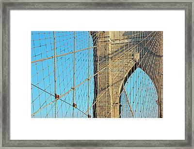 Brooklyn Bridge Cables Framed Print by Paul Van Baardwijk